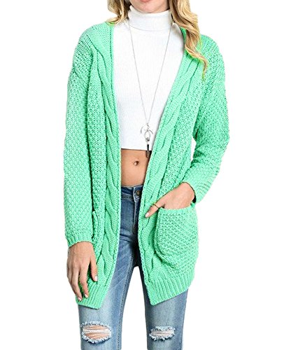 FISACE Women's Long Sleeve Knitwear Open Front Cardigan Sweaters Outerwear with Pocket
