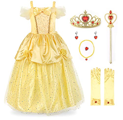 JerrisApparel Girls Princess Belle Costume Sequin Overlay Party Dress (6, Yellow with Accessories)
