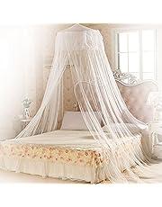 Moustiquaire ciel de lit, Mopalwin Grande Moustiquaire Baldaquin Pour Lit Double, Décoration de lit et de chambre à coucher - Filet anti-moustique Blanc