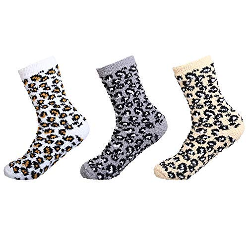 IMOZY Women's Winter Crew Socks- Colorful Leopard Cozy Soft Fuzzy Plush Socks Pack for Big Girls and Women- 3 Pairs in White Grey and Light Brown (Fuzzy Leopard)
