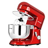 CHEFTRONIC Stand Mixers SM-986 120V/650W 5.5qt Bowl 6 Speed Kitchen Electric Mixer Machine (Empire Red)