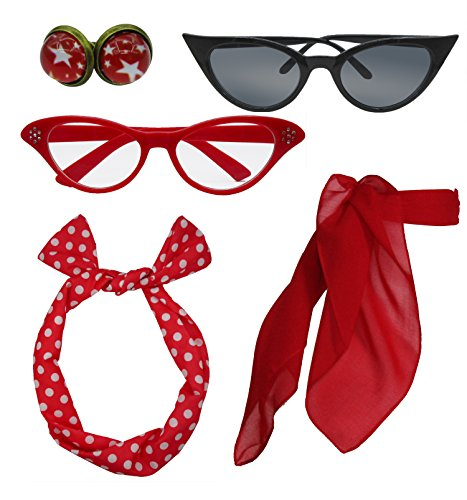 Retro 1950s Polka Dot Style Scarf Glasses Headband and Earrings Costume Accessories Set (One Size, Red) -