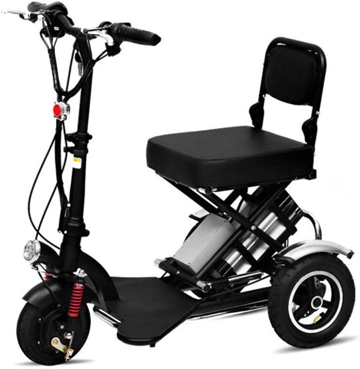 XHJZ Plegable eléctrico de Tres Ruedas, Adulto Scooter eléctrico, Ligero Ancianos discapacitados Ocio al Aire Libre Triciclo eléctrico 48V / 12AH / kilometraje 45KM