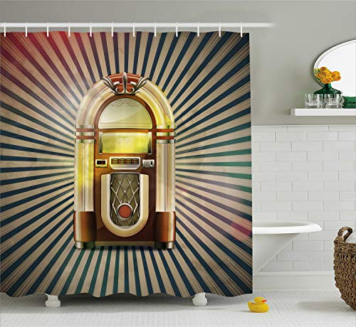Ambesonne Jukebox Shower Curtain, Retro Vintage 50s Pin up Inspired Striped Backdrop Old Music Box, Cloth Fabric Bathroom Decor Set with Hooks, 70