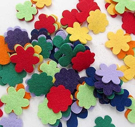 104 Wool Blend Felt Itsy Bitzy Flower Appliques - OTR Felt Made in USA (Brights)