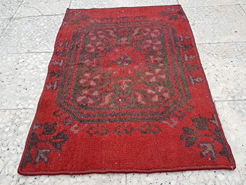 Traditional Rectangular Farmhouse Kitchen Mat, Vintage Small Red Welcome Floor Rug 23.6'' x 33.4'' (60 x 85 Cm)