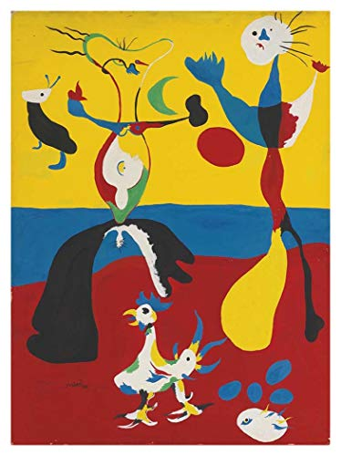 - JH Lacrocon Le Fermier Et Son Épouse by Joan Miro Handpainted Reproduction - 65X90 cm(ca. 26X36 inch) Abstract Paintings Canvas Wall Art Unmounted for Living Room