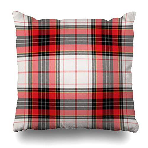 Decor.Gifts Throw Pillow Covers Britain Green Xmas Tartan Plaid Abstract Check Red Celtic Checkered Clan Covering Old Cushion Case Square Size 20 x 20 Inches Home Decor -