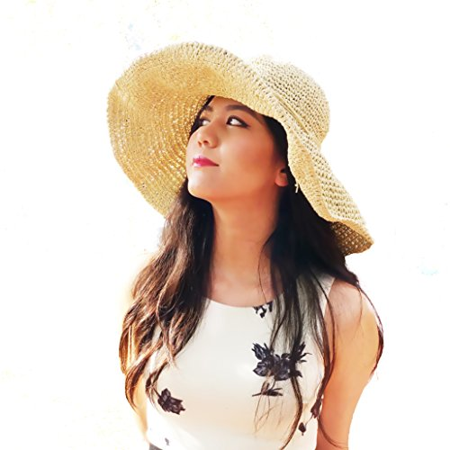 LA. Helena Fashion Straw Derby Cap Womens Flax Bow Wide Large Brim Summer Beach Sun Hat (Crochet Beige)