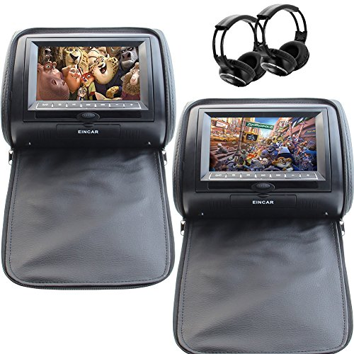 "7"" Black Car DVD/USB/SD/Headrest Video Player LCD Monitor Dual Screen DVD Player for car with Dual Channel Wireless IR Headsets"