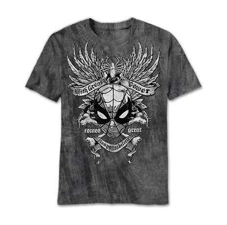 Charcoal River Wash T-shirt (The Amazing Spider-Man Gritty Spider Charcoal River Wash T-Shirt | S)