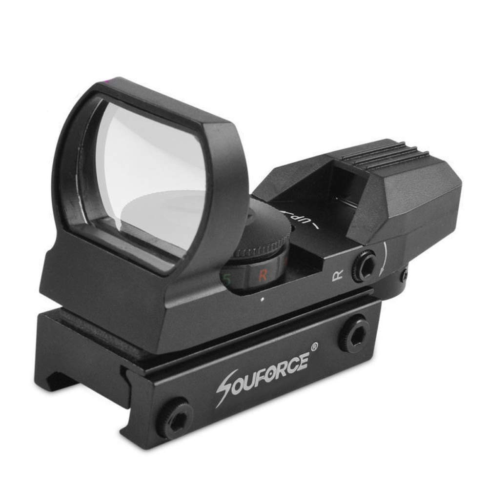 HERCHR Optical Sight Scope, For Gun Airsoft Pistol Red/Green Dot Holographic 1x22x33 CN, Black