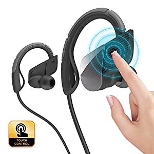 Bluetooth Headphones, Touch Control Wireless Earbuds Noise Cancelling Earphones HD Stereo Handsfree Microphone Headsets IPX4 Sweatproof for Running Gym Gaming Up To 8 Hours Working Time