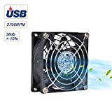 ELUTENG Cooling Fan 80mm Cabinet USB Mini Fan 5V Ventilator for Receiver DVR Playstation Xbox Computer 80 x 80 x 25m
