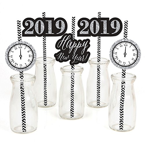 New Year's Eve - Silver Paper Straw Decor - 2019 Years Eve Party Striped Decorative Straws - Set of -