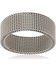 Mesh Fashion Unique Design Silver Men Ring Size 10