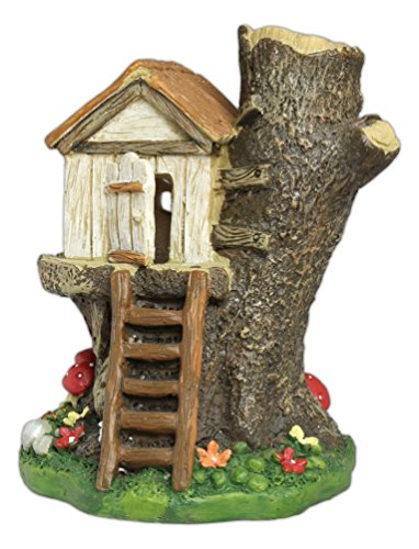 """Ganz 5.5"""" x 5"""" x 4.5"""" Fairy Tale Collection Multicolor Light Up Treehouse Figurine"""