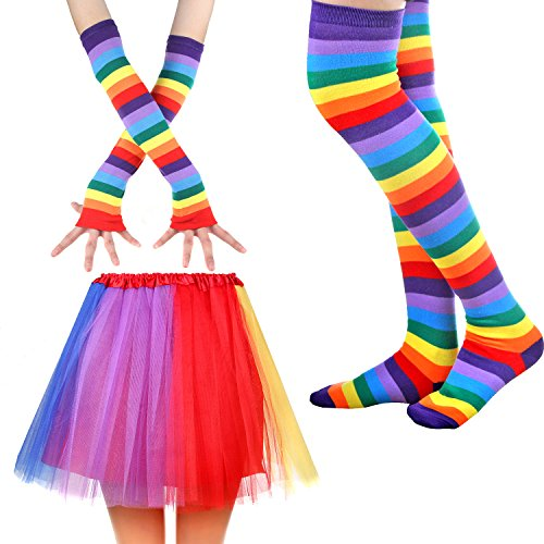 Womens Rainbow Long Gloves Socks and 3 Layered Tulle Tutu Skirt Party Accessory Set -