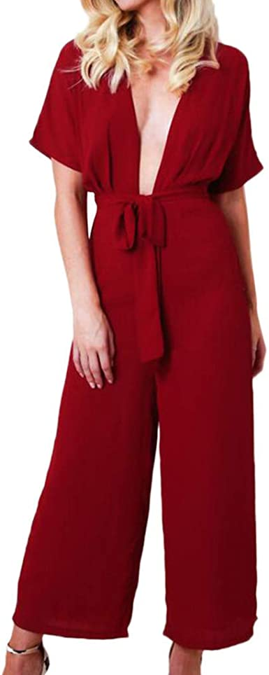 Womens V-Neck Sleeveless Button Jumpsuit Koolee Women Jumpsuit