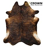 7'ft x 6 ft Brindle Cowhide Rug | Cowhide Area Rugs by Crown Home Innovations | 100% Natural Leather Rugs (XL))