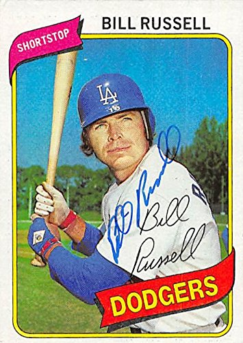 Bill Russell Autographed Baseball Card Los Angeles Dodgers 1980