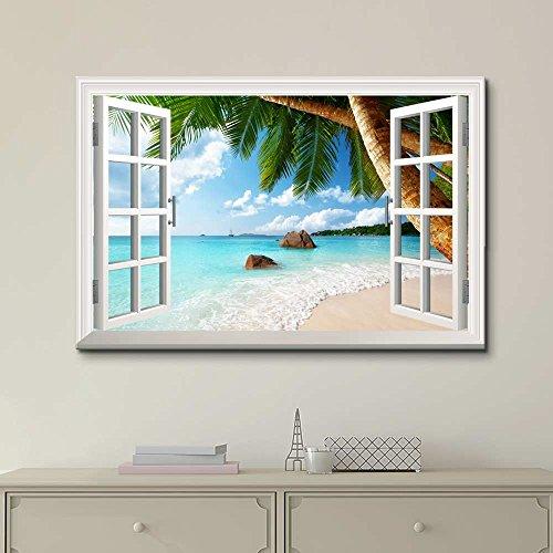 Creative Window View ANSE Lazio Beach on Praslin Island in Seychelles