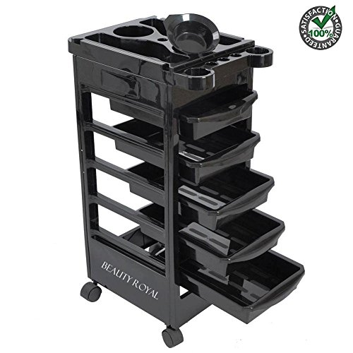 Beauty Royal 5 Ties Salon Rolling Trolley Hairdressing Cart Barber Coloring Beauty Holder Storage Drawer Organizer Tray Basket Workstation with Casters Wheel Black for Hair Tools Dryer Spa Tattoo Shop