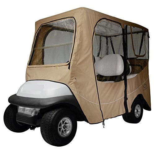 Classic Accessories Fairway Golf Cart Deluxe Enclosure, Khaki, Extra Long Roof
