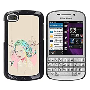 Paccase / SLIM PC / Aliminium Casa Carcasa Funda Case Cover - Girl Hummingbird Pink Beige Emo - BlackBerry Q10