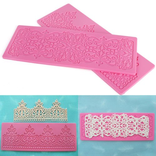 Edible crown royal lace cake silicone Embossing Mat Texture fleur de lis fondant impression lace mat decorating mold gum paste cupcake topper tool icing candy imprint mould Anyana set of 2 ()