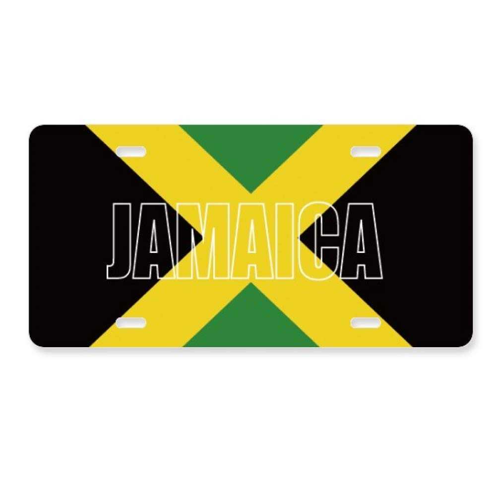 Jamaica Country Flag Name License Plate Car Decoration Stainless Steel Accessory