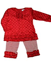 Red Minky rouched Dress with Stripe Leggings
