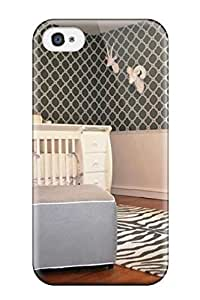 Fashionable Style Case Cover Skin For Iphone 4/4s- Baby Nursery With Zebra Rug White Crib 038 Blue Chair