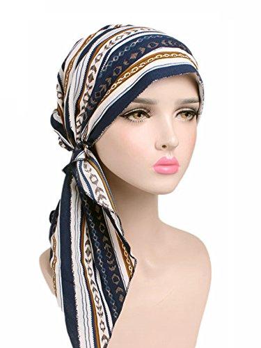 Century Star Women Hair Cover Headwear Bandana Turban Ruffle Long Ties Print Chemo Hat White Blue Stripe One Size