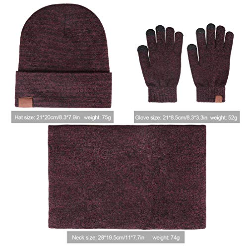 (Winter Warm Beanie Hat + Scarf + Touch Screen Gloves, Unisex 3 Pieces Cap Set for Men Women Wine)
