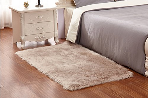 HUAHOO Camel Faux Sheepskin Area Rug Chair Cover Seat Pad Plain Shaggy Area Rugs For Bedroom Sofa Floor Camel (5' Square Desk (Camel Square Rug)