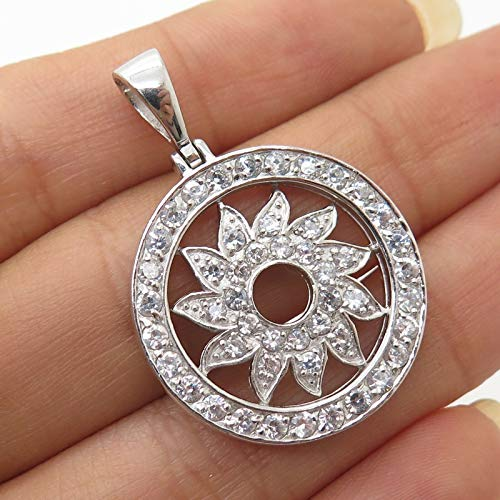 925 Sterling Silver C Z Floral Sun Openwork Circle Pendant Jewelry Making Supply by Wholesale - Openwork Circle Pendant