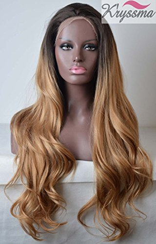 K'ryssma Ombre Blonde Synthetic Lace Front Wigs Dark Roots Long Wavy Heat Resistant 2 TonesOmbre Synthetic Wig for Women 24 inches]()