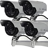 Masione 4 Pack Solar Powered Fake Dummy Security Camera with Blinking LED Light