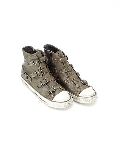 ecceff63db57 Ash Footwear Perkish Grey Leather Buckle  Virgin  Hi Top Trainers   Amazon.co.uk  Shoes   Bags