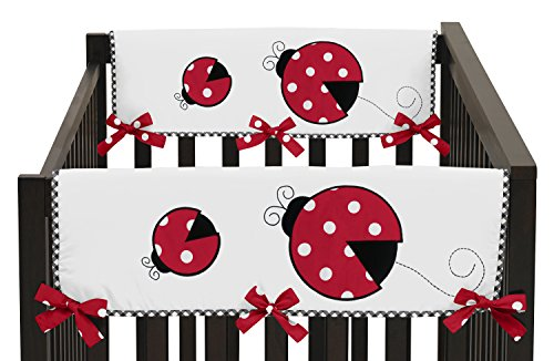 Sweet Jojo Designs 2-Piece Little Ladybug Teething Protector Cover Wrap Baby Girl Crib Side Rail Guards ()