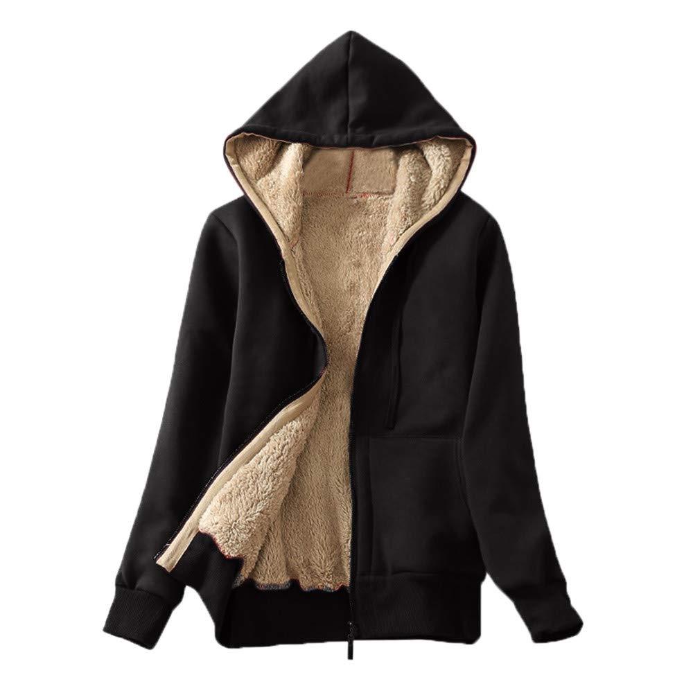 Gleamfut Womens Plus Plush Hoodies Winter Long Sleeve Zipper Warm Coat Solid Hooded Sweatshirt Black by Gleamfut