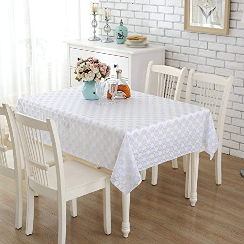 PQPQPQ The plastic PVC disposable ribbon square table cloth, oil & water proof - communities of 135 x 220 cm ribbon refractory-B (53 x 87 ()