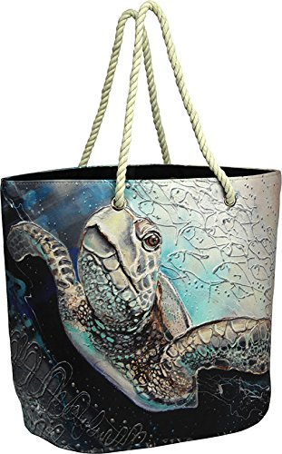 Sea Turtle Beach Bag, Features a Colorful Ocean Scene on Ex Large, Heavy Duty Cotton/Polyester All-Purpose Bag - Turtle Scene