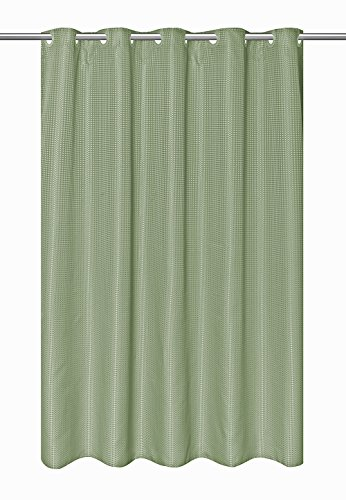 Hookless EZ-ON Waffle Weave Fabric Shower Curtain with Snap-In Fabric Liner, 75 Inch Long, Celedon-Green