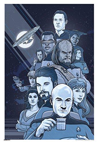 Pyramid America Star Trek The Next Generation B/W 50th Anniversary TV Show Poster 13x19 inch -