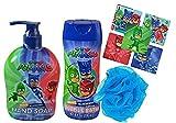Pj Mask Bath 3pc Bathroom Collection! Includes Hand Soap, Bubble Bath & Kids Scrubby! Plus Bonus PJ MAsk Character Stickers!