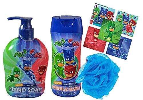 Pj Mask Bath 3pc Bathroom Collection! Includes Hand Soap, Bubble Bath & Kids Scrubby! Plus Bonus PJ MAsk Character Stickers! by UPD