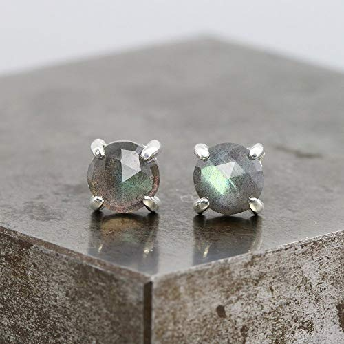Sterling Silver Stud Earrings with 6mm Rose Cut Labradorite (Earrings Labradorite Rose)