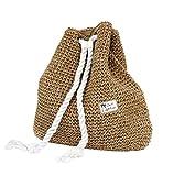 Tonwhar Campus Fashion Straw Shoulder Bag Beach Backpack Purse (Brown)